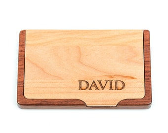 Engraved Wood Business Card Holder, laser engraved with personalized custom name, your words or phrase, maple and rosewood, gft0029