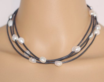 Pearl and leather necklace,multi strands leather necklace,black leather necklace,pearl leather choker,four line leather necklace,best gift