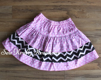 Children's - Pink w/ White Spots and Black and White Chevron - 3 Tier Skirt