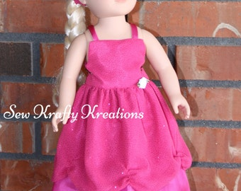 """Sparkly Pink Doll Gown for 18"""" doll like American Girl"""