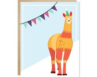 Handmade Blank Greeting Card – Party Animal Series (Orange Llama)