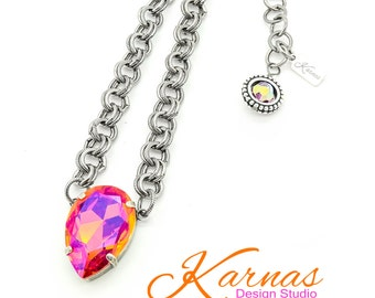 ASTRAL PINK PEAR Necklace Swarovski Elements 30x20mm Stone *Pick Your Finish *Karnas Design Studio *Free Shipping*