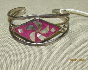 Vintage Alpaca Mexico Silver Cuff Bracelet Purple & Abalone Flower Design 1970's