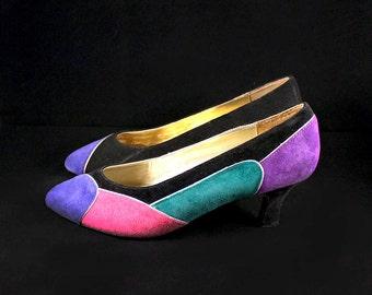 Vintage Size 8 Black Suede Heels - Colorful Suede Purple Pumps