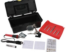 Deluxe Wood Burning Kit Assorted Tips, Stencils, and Tweezers With Tool Box On SALE