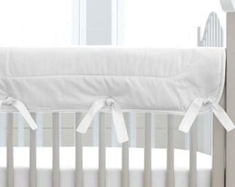 Neutral Baby Crib Bedding / Girl Baby Bedding / Boy Crib Bedding: Solid White Crib Rail Cover by Carousel Designs