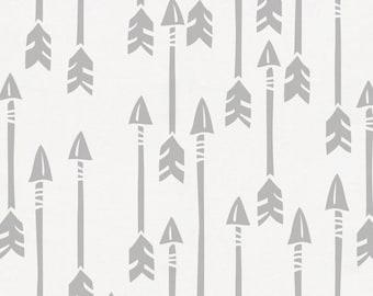 Silver Gray Flying Arrow Organic Fabric - By The Yard - Gender Neutral / Boy / Girl