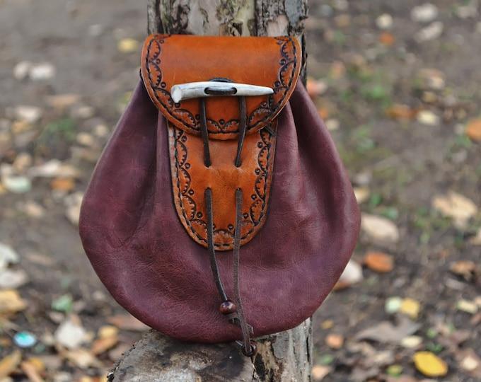 Leather Sporran bag, medieval pouch, medieval purse, fantasy bag, handmade bag