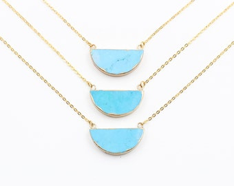 Turquoise Necklaces -- With Electroplated Gold Edge Choker Jewelry Supplies Wholesale Bridesmaid Necklaces CQA-022