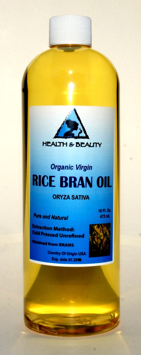 16 oz RICE BRAN OIL Organic Carrier Unrefined Cold by