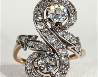 SALE Antique French Diamond Toi et Moi Ring with Arrows, c. 1890 18k Gold and Silver - VIDEO