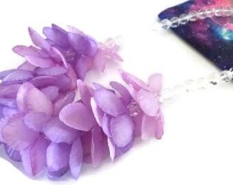 Girl's Purple Flower Necklace, Children's Jewelry
