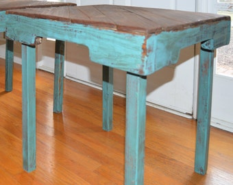 Turquoise Reclaimed Wood Side Table