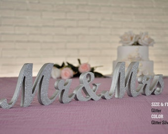 Silver Glitter Mr and Mrs Wedding Signs, Mr & Mrs Wood Wedding Decoration, Glitter, Mr and Mrs Wedding Photo Prop, Glitter Mr and Mrs