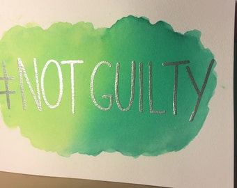 """Listing for REBECCA C. """"Not Guilty"""" Watercolor"""