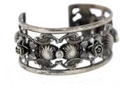 Silver Flower Cuff