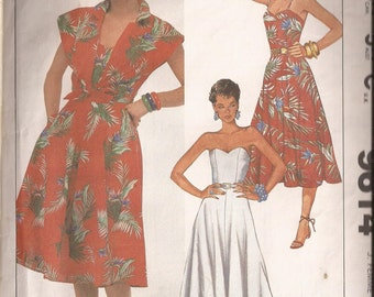 Simplicity 9614 Misses Dress and Coverup Pattern, Size 12. Vintage 1985