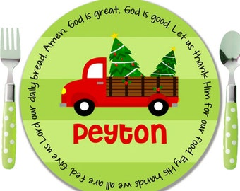 Personalized Melamine Plate - Personalized Kids Plate - Personalized Christmas Plate - Kids Holiday Plate - Red Truck