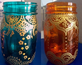 Set of Two Bohemian Mason Jars, Translucent