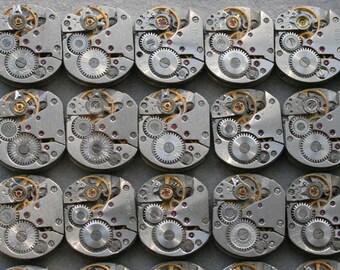 "1/2 x 5/8"" . Set of 68  Vintage Soviet Watch movements , steampunk parts , cuff links supplies , clockwork movements"