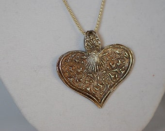 Hand crafted fine silver large heart necklace