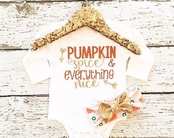 Baby girl Thanksgiving outfit Pumpkin Spice  baby girl fall Thanksgiving ndwborn Thanksgiving outfit