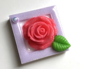 Elegant Mini Frame with Rose Hair Clip or Brooch (magenta and purple)