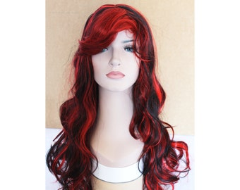 Lizzie Hearts. Long curly Wig Red wig with Black hightlight synthetic highlighted wig -high quality wig- made to order.