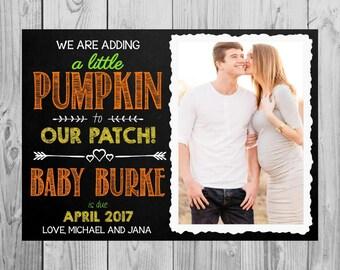 Fall Themed Pregnancy Announcement Card | Our Little Pumpkin | Size: 5x7 | DIGITAL FILE by MMasonDesigns