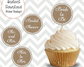 Burlap and Lace Stripe Bridal Shower Cupcake Toppers DIY Printable