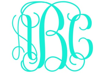 Vine Monogram, Personalized decal, Yeti decal