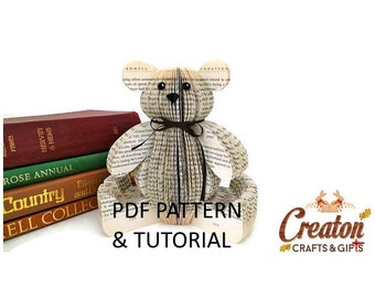 PDF Tutorial and Pattern - Book Art Teddy Bear - Paper cutting Pattern - Instructions - photos - Instant Download -Book Teddy Bear template