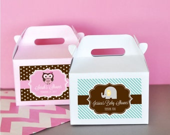 Personalized Baby Shower Favors-Baby Shower Favor Container-Mini Gable Boxes-Baby Shower Favor Boxes (Set of 24)