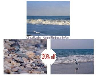 Coastal photography beach print set, dark blue wall art, 3 11x14 nautical prints, beige blue photographs, lake house decor, ocean wall set