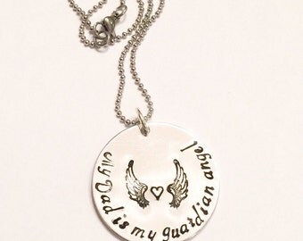 Guardian angel - Memorial necklace - Hand stamped necklace - Loss necklace - Remembrance jewelry - Memorial necklace - Guardian angel chain