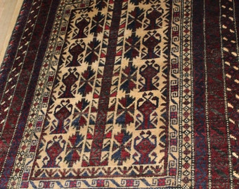 Persian Rug Vintage Baluchi 3x5 Rug Handknotted Excellent Piece. Earthy Brown/Ivory Tones. ~Gypsy Rugs (359)