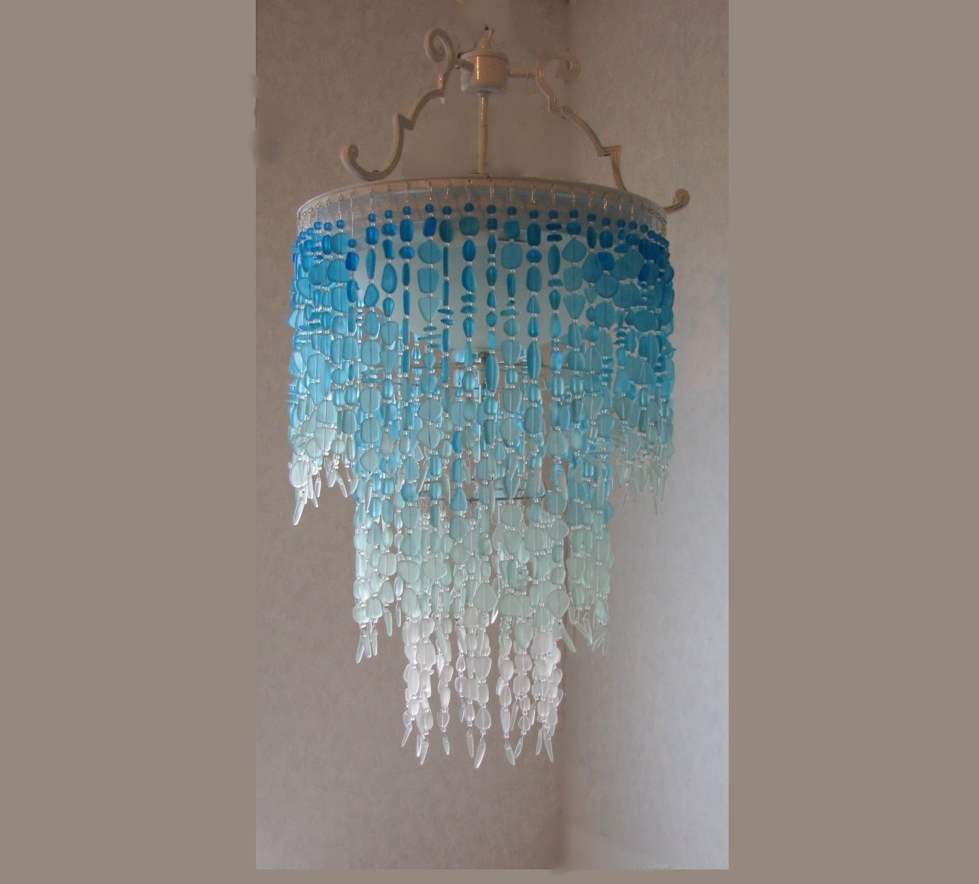 Chandelier Lighting Glass: Sea Glass Chandelier Lighting Fixture Flush Mount Ceiling
