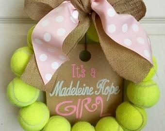 It's a Girl Tennis Wreath
