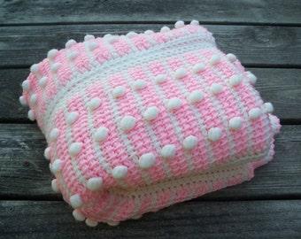 vintage crochet baby blanket ~ pink and white with pom poms | vintage baby blank | crochet blanketet | pink blanket | baby girl blanket