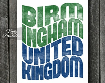 Birmingham UK Print - PRINTABLE 8x10 Birmingham United Kingdom Poster - Birmingham Art - Birmingham England Gifts - City Typography