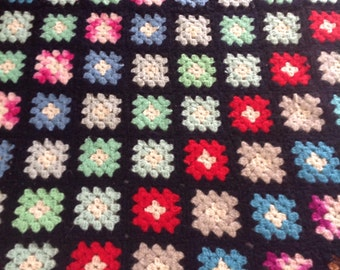Granny Square Afghan....Vintage.....Black with colorful squares