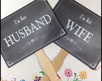 Paddle Fans, Double Sided Wedding Sign, Chalkboard Wedding Sign, Husband & Wife Wedding Sign, Thank You Wedding Sign, Photo Prop Signs