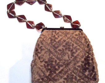 Vintage 1950s Chenille Tapestry Brown Velvet Carpetbag with Lucite Handle Purse/Bag