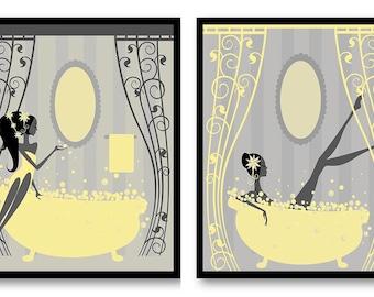 Yellow grey bathroom | Etsy