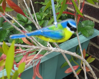 Blue Tit fused glass bird  - made to order - garden birds - british birds - fused glass - garden ornament - british wildlife