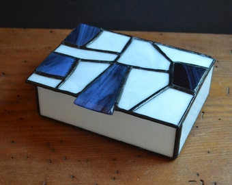 Blue and White Stained Glass Jewelry Box