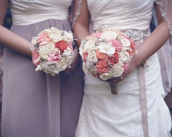 Coral Sola Wedding Bouquet, Gorgeous Alternative Wedding Bouquet, Sola Bouquet