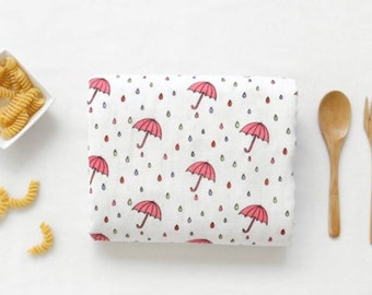 Double Gauze Fabric Umbrella Pink By The Yard