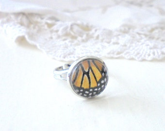 Butterfly Wing Ring, Monarch Butterfly, Feminine Jewelry, Rhodium Titanium