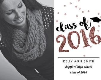 Rose Gold Glitter Class of 2016 Graduation Announcement (Digital printable file)